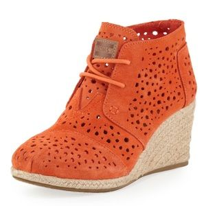 Toms Moroccan Cutout Suede Wedge Boot Orange 5